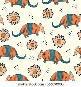 Colorful seamless pattern with armadillo and flowers