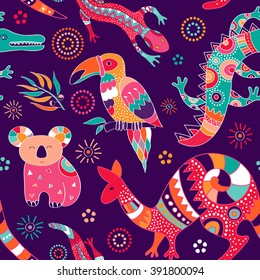 Colorful seamless pattern with australian animals. Aboriginal zoo pattern. Design for fabric, web, textile, curtains, wrapping paper, cover, carpet