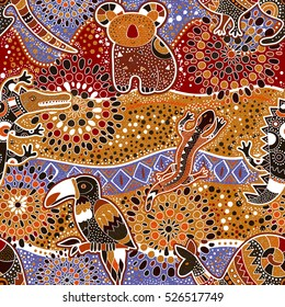 Colorful seamless pattern with australian animals. Decorative ethnic backdrop