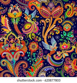 Colorful seamless pattern with birds and decorative elements. Paisley. Indian style. Design for fabrics