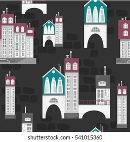 Colorful seamless pattern with buildings