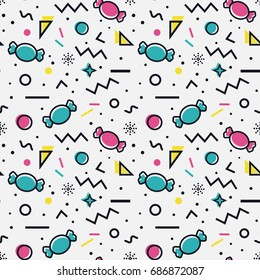 Colorful seamless pattern with candies and abstract geometric shapes in memphis style. Trendy vector background in white, blue, pink, yellow and black colors.