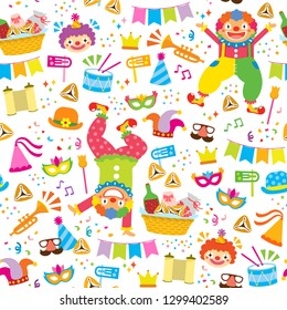Colorful seamless pattern with clowns and symbols of Purim
