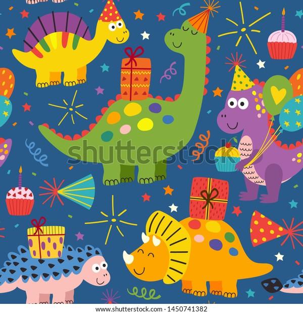 Vector De Stock Libre De Regalias Sobre Colorido Y Transparente Patron Con Lindos1450741382 ¿cómo dicen feliz cumpleaños los dinosaurios? https www shutterstock com es image vector colorful seamless pattern cute dinosaurs happy 1450741382