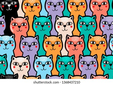 Colorful seamless pattern with cute and funny cats. Vector endless illustration in doodle trendy style for children.