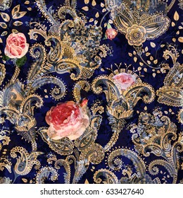 Colorful seamless pattern with decorative flowers. Paisley and roses. Indian style
