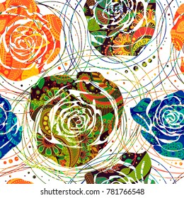 Colorful seamless pattern, decorative indian style. Wallpaper with big hand drawn roses and Paisley