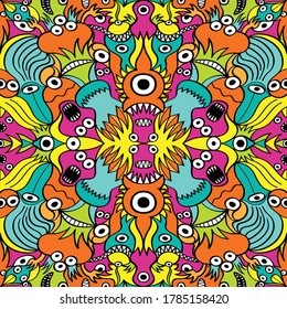 Colorful seamless pattern design composed by crazy weird creatures such as monsters, aliens and fishes. They are aligned using two axes of symmetry creating 3 mirrored images from the original one