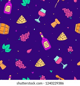 Colorful seamless pattern with doodle wine icons.