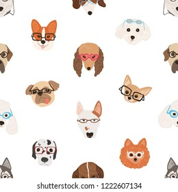Colorful seamless pattern with faces of dogs wearing glasses or sunglasses on white background. Backdrop with smart puppies. Modern decorative vector illustration for textile print, wrapping paper.
