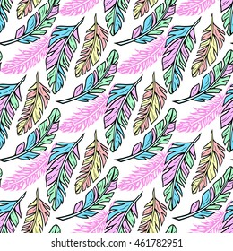 Colorful seamless pattern with feathers. Fashion design in boho style. Hand drawn illustration for fashion, textile, fabrics, wrapping paper, material,  tiles, website wallpaper, background.
