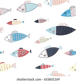 Colorful seamless pattern with fish