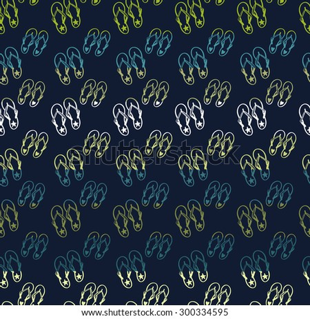 76d15874c Colorful seamless pattern with flip-flop summer ocean beach elements  separated by color stripes on