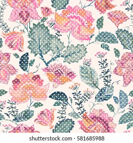 Colorful seamless pattern. Floral background. Flowers wallpaper.