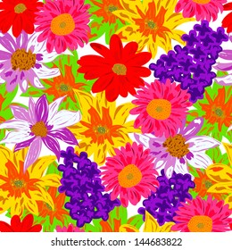 colorful seamless pattern with flower