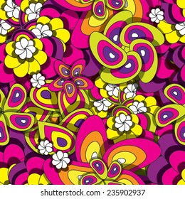 Colorful  seamless pattern with flowers eps10