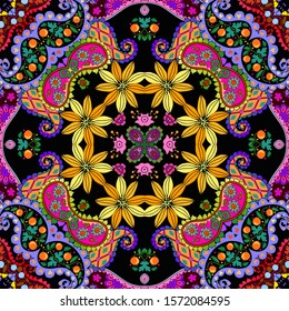 Colorful seamless pattern with flowers and paisley. Kaleidoscope. Bandana print. Festive summer print.