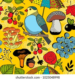 Colorful seamless pattern with forest wild bird on the tree. Endless vector illustration.