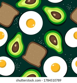 Colorful seamless pattern with fried egg, bread, avocado. Vector backdrop with food. Decorative wallpaper, good for printing. Hand drawn overlapping background