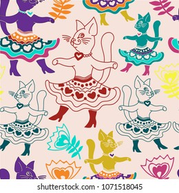 Colorful seamless pattern with funny cartoon cats and hand drawn elements. Perfect for kids and baby apparel design, wall art, poster, fabric texture. Vector Illustration
