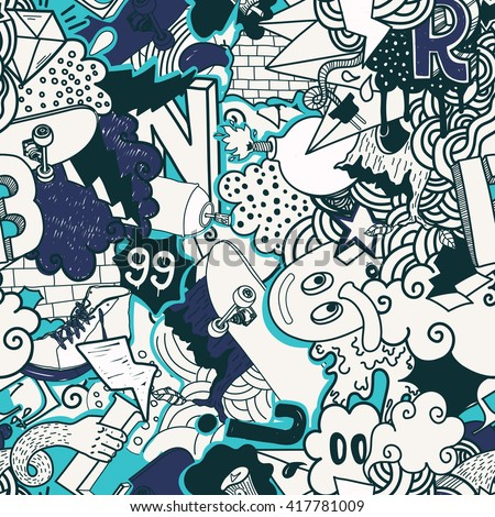 Graffiti Doodles Street Art Illustration In Blue Colors Composition Bizarre Elements