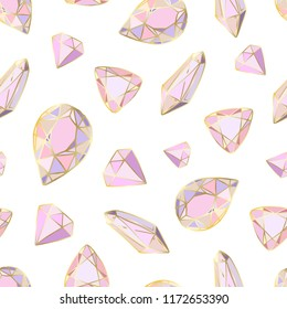 Colorful seamless pattern with hand drawn crystals and gems in pink, lilac tones with gold contour, vector illustration