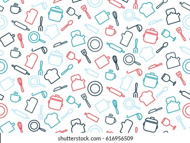 Colorful seamless pattern with kitchen elements and dishes