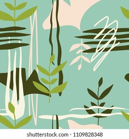 Colorful seamless pattern with leaves, spots. Decorative colored wallpaper, good for printing. Hand drawn overlapping background, texture with decor elements, lines and shapes. Design backdrop vector