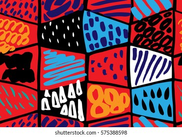 Colorful seamless pattern in Memphis style. Abstract background with hand painted brush strokes. Modern graphic design. Hand Drawn textures made with ink.