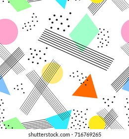 Colorful seamless pattern in memphis style. Vector illustration