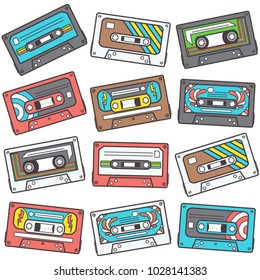 Colorful seamless pattern with music tapes, retro vector design on white background