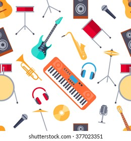 Colorful Seamless Pattern Of Musical Instruments In A Flat Style
