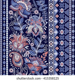 Colorful seamless pattern. Ornamental border. Floral wallpaper