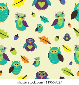 Colorful seamless pattern with owls