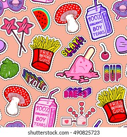 """Colorful seamless pattern with patches, stickers, badges, pins with watermelons, heart-shaped sunglasses, mushrooms, bags of """"boy tears"""", slang words, french fries, lollipops in style of 80s-90s."""