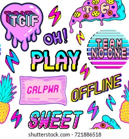 "Colorful seamless pattern with patches, stickers, badges, pins with pineapples, pizza slices, hearts, words and abbreviations ""TGIF"", ""team no one"", ""offline"", ""play"", etc. White background."