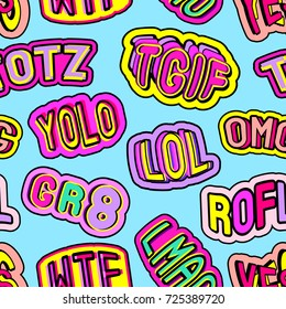 """Colorful seamless pattern with patches, stickers, badges, pins with words """"totz"""", """"tgif"""", """"yolo"""", """"lol"""", """"omg"""", """"gr8"""", """"rofl"""", """"wtf"""", """"lmao"""". Blue background. Teen slang c abbreviations."""