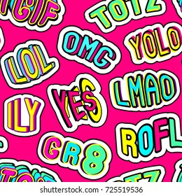 """Colorful seamless pattern with patches, stickers with words """"totz"""", """"tgif"""", """"yolo"""", """"lol"""", """"omg"""", """"gr8"""", """"rofl"""", """"ily"""", """"lmao"""". Red background. Teen slang abbreviations. Comic cartoon style of 90s."""