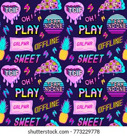 "Colorful seamless pattern with patches, stickers, badges, pins with pineapples, pizza slices, hearts, words and abbreviations ""TGIF"", ""team no one"", ""offline"", ""play"", etc. Dark blue background."