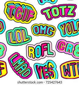 """Colorful seamless pattern with patches with words """"totz"""", """"tgif"""", """"yolo"""", """"lol"""", """"omg"""", """"gr8"""", """"rofl"""", """"wtf"""", """"lmao"""". Blue background. Teen slang c abbreviations."""