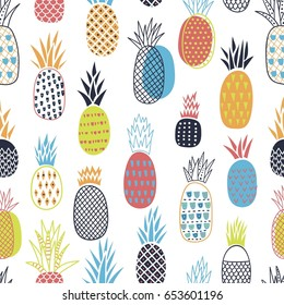 Colorful seamless pattern with pineapples