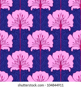 Colorful seamless pattern with pink flowers on blue background. Art nouveau style.