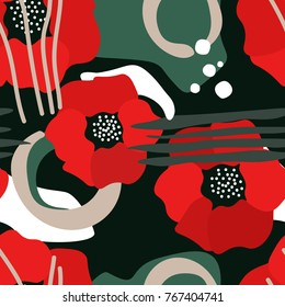 Colorful seamless pattern with poppies. Decorative bright wallpaper, good for printing. Hand drawn overlapping background, texture with decor elements, lines and shapes. Design backdrop vector