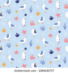 Colorful seamless pattern with seagulls in vector. Cute cartoon seagulls on a coast. Summer vacation. Good for print.
