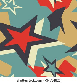 Colorful seamless pattern with stars, spots and dots. Decorative wallpaper, good for printing. Hand drawn overlapping background, texture with decor elements, lines and shapes. Design backdrop vector