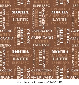 Colorful seamless pattern with text. Coffee-colored background, coffee time. Decorative wallpaper, good for printing for cafe. White and brown backdrop vector