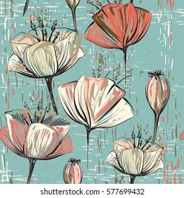 Colorful seamless pattern with tulips. Flowers backdrop. Hand drawn vertical floral wallpaper