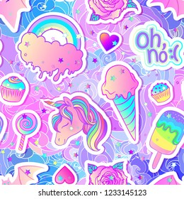 Colorful seamless pattern: unicorn, sweets, rainbow, ice cream, lollipop, cupcake, rose, bat. Vector illustration. Stickers, pins, patches. Kawaii pastel colors. Cute gothic style.