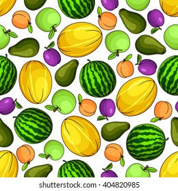 Colorful seamless pattern with watermelon and apples, melon and peach, avocado and plum fruits