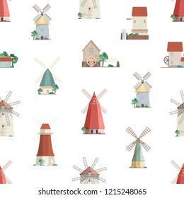 Colorful seamless pattern with watermills and windmills on white background. Backdrop with old European wind and water mills. Vector illustration in flat cartoon style for wrapping paper, wallpaper.